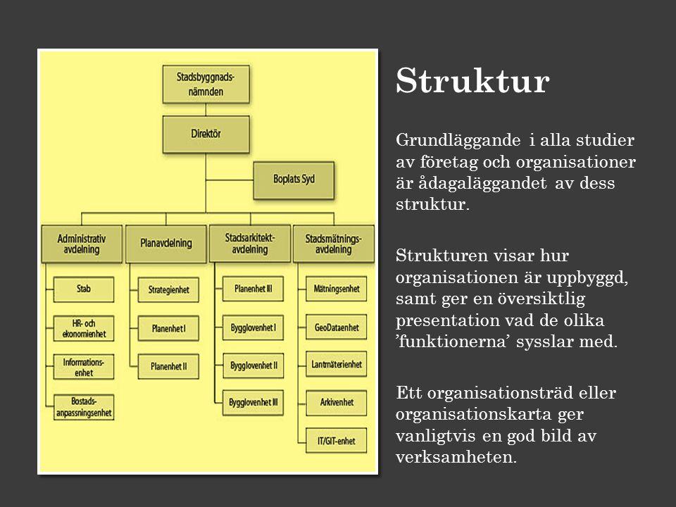 Struktur Grundläggande i alla studier av företag och organisationer är ådagaläggandet av dess struktur. Strukturen visar hur organisationen är uppbygg