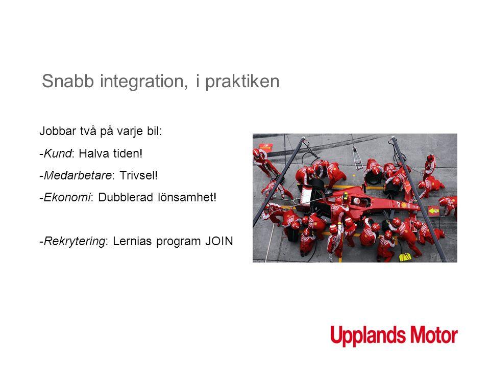 Snabb integration, i praktiken Jobbar två på varje bil: -Kund: Halva tiden! -Medarbetare: Trivsel! -Ekonomi: Dubblerad lönsamhet! -Rekrytering: Lernia