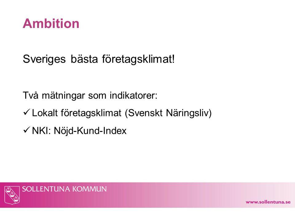 Ambition Sveriges bästa företagsklimat! Två mätningar som indikatorer: Lokalt företagsklimat (Svenskt Näringsliv) NKI: Nöjd-Kund-Index
