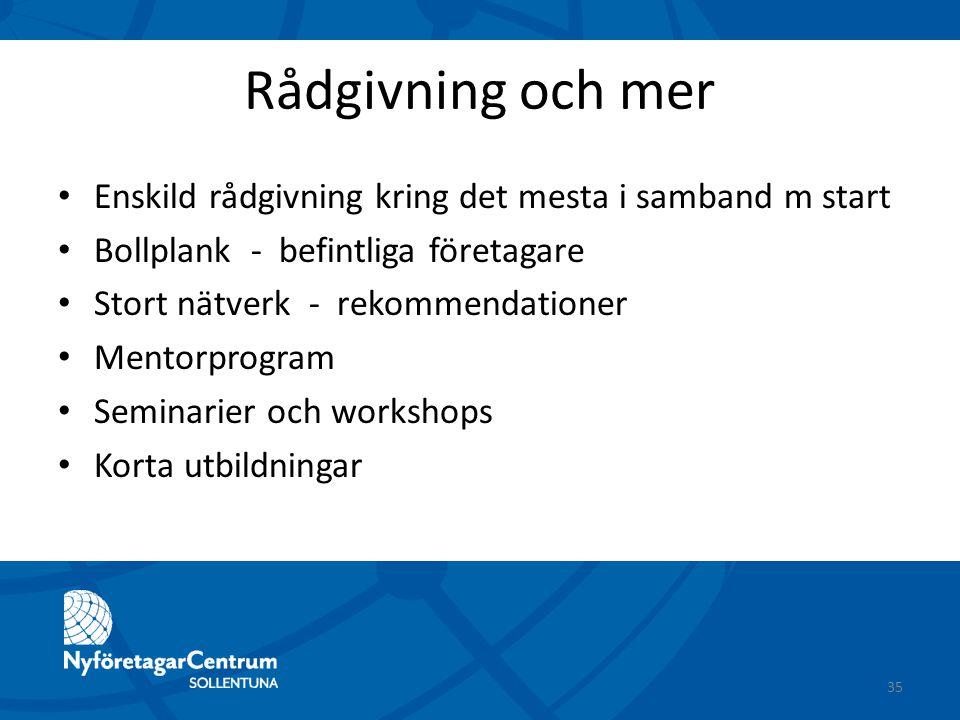 Rådgivning och mer Enskild rådgivning kring det mesta i samband m start Bollplank - befintliga företagare Stort nätverk - rekommendationer Mentorprogr