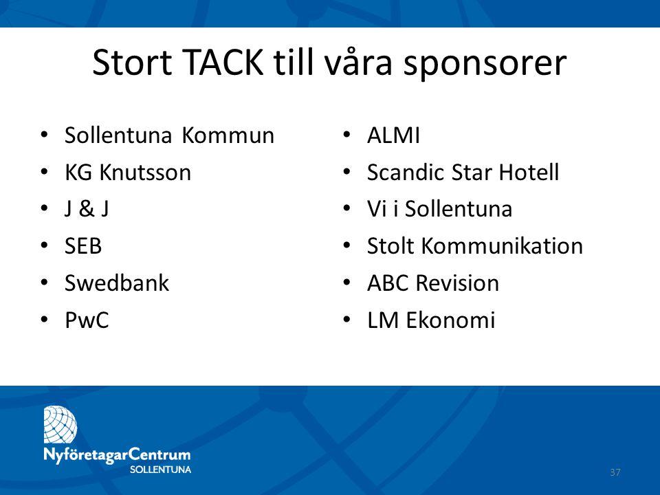 Stort TACK till våra sponsorer Sollentuna Kommun KG Knutsson J & J SEB Swedbank PwC ALMI Scandic Star Hotell Vi i Sollentuna Stolt Kommunikation ABC R