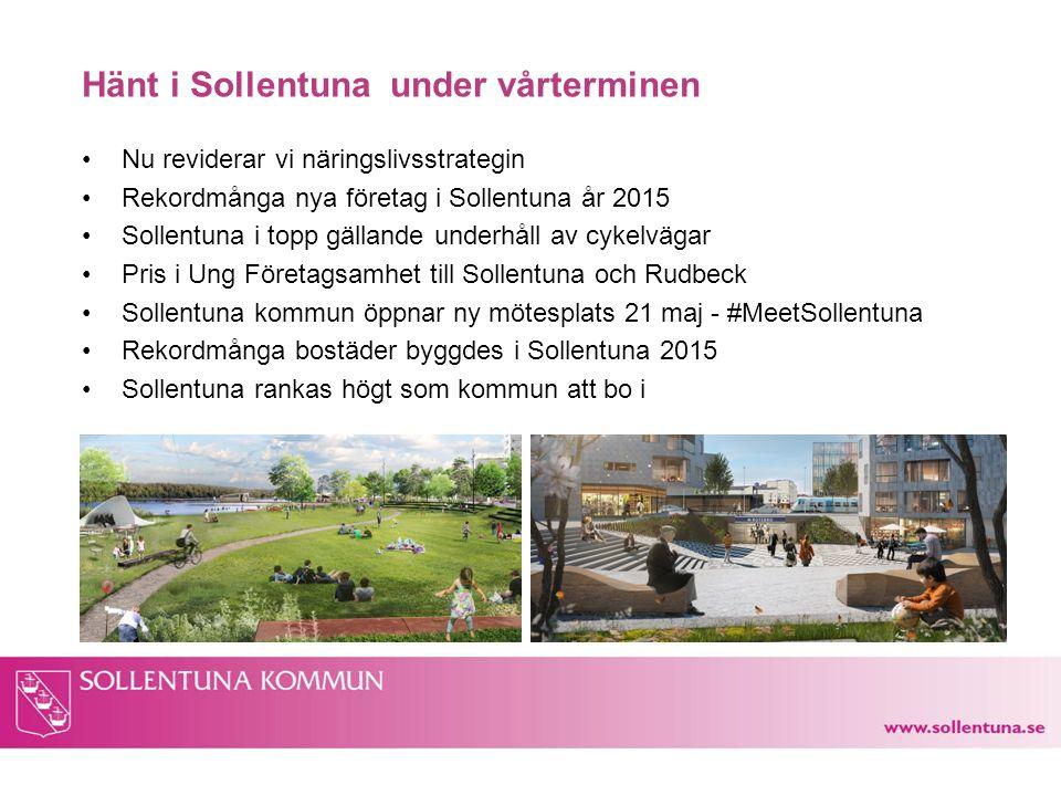 Hänt i Sollentuna under vårterminen Nu reviderar vi näringslivsstrategin Rekordmånga nya företag i Sollentuna år 2015 Sollentuna i topp gällande under