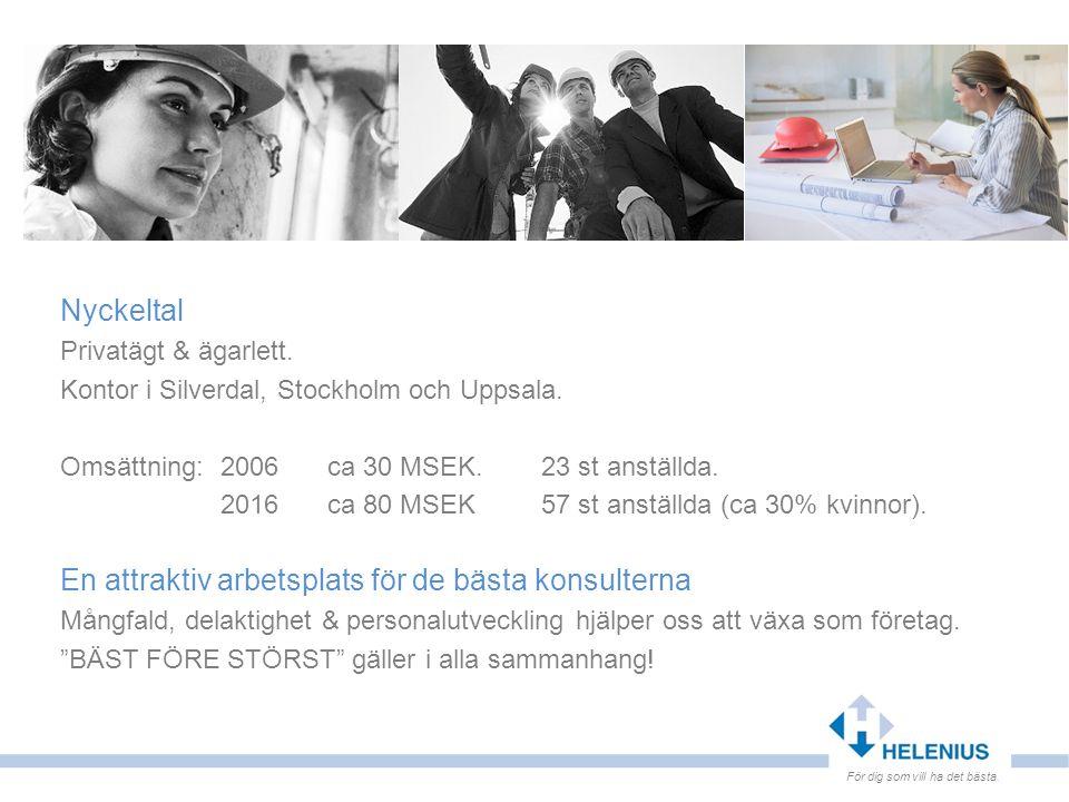 Nyckeltal Privatägt & ägarlett. Kontor i Silverdal, Stockholm och Uppsala. Omsättning: 2006 ca 30 MSEK. 23 st anställda. 2016 ca 80 MSEK 57 st anställ