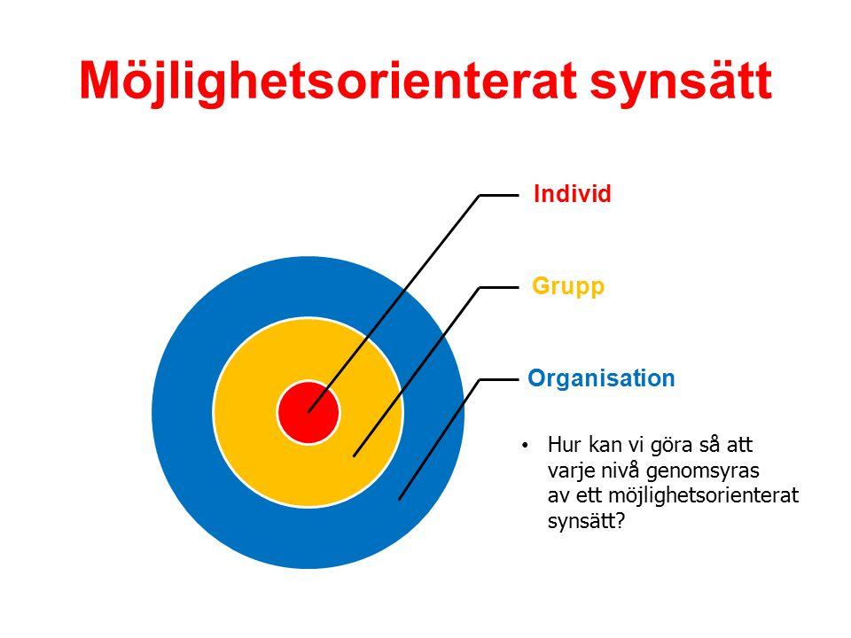 Möjlighetsorienterat synsätt Individ Grupp Organisation Hur kan vi göra så att varje nivå genomsyras av ett möjlighetsorienterat synsätt