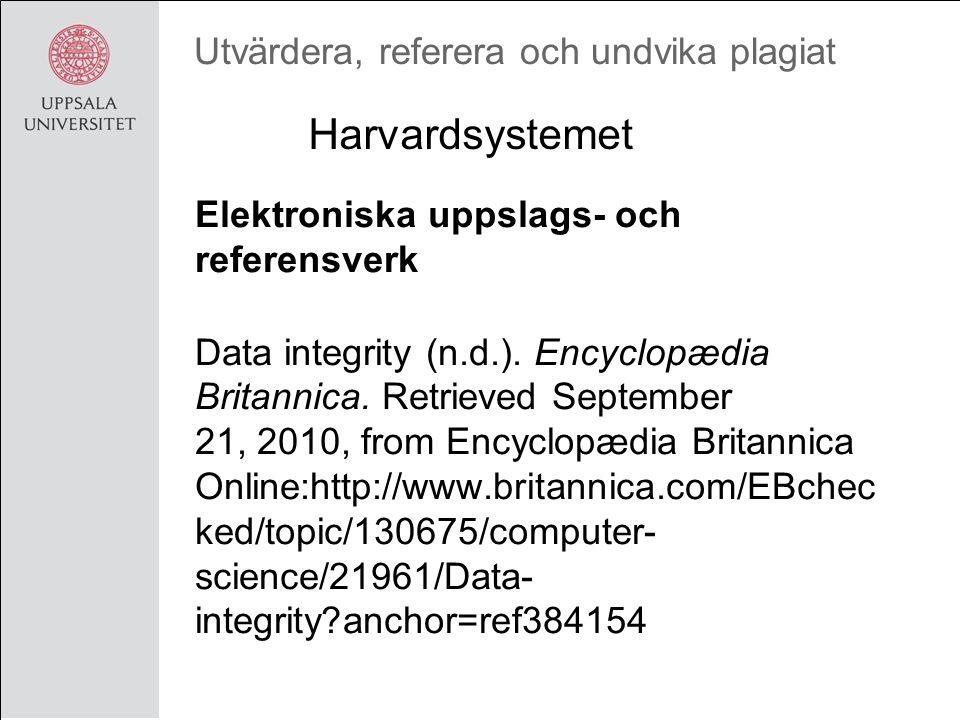 Utvärdera, referera och undvika plagiat Elektroniska uppslags- och referensverk Data integrity (n.d.).