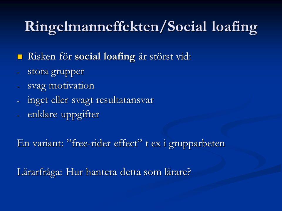 Ringelmanneffekten/Social loafing Risken för social loafing är störst vid: Risken för social loafing är störst vid: - stora grupper - svag motivation - inget eller svagt resultatansvar - enklare uppgifter En variant: free-rider effect t ex i grupparbeten Lärarfråga: Hur hantera detta som lärare