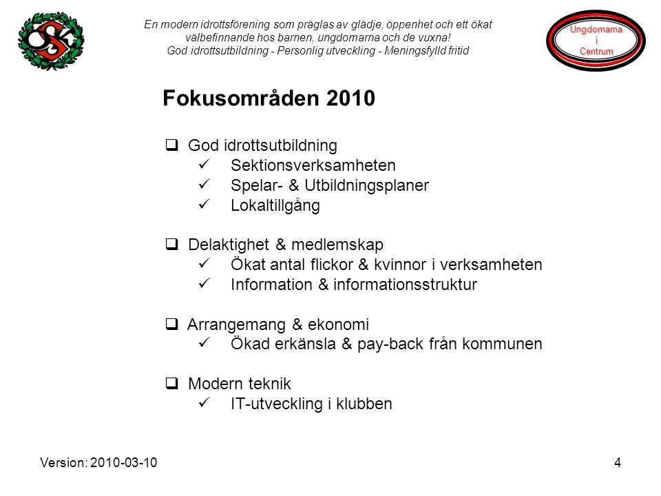 Version: 2010-03-104 En modern idrottsförening som präglas av glädje, öppenhet och ett ökat välbefinnande hos barnen, ungdomarna och de vuxna.