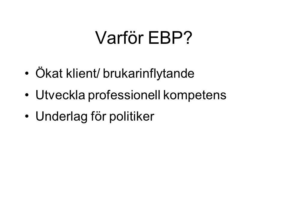 Varför EBP Ökat klient/ brukarinflytande Utveckla professionell kompetens Underlag för politiker