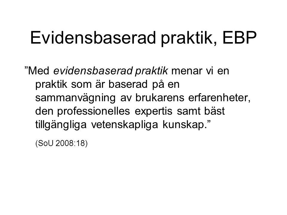 Evidensbaserad praktik, EBP Med evidensbaserad praktik menar vi en praktik som är baserad på en sammanvägning av brukarens erfarenheter, den professionelles expertis samt bäst tillgängliga vetenskapliga kunskap. (SoU 2008:18)