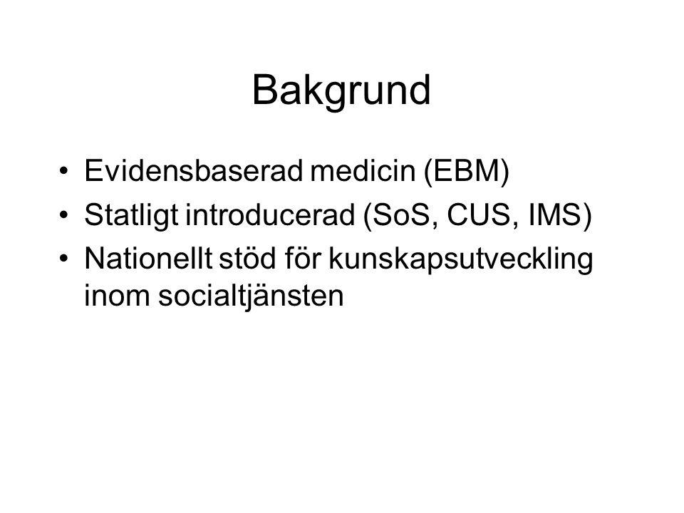 Bakgrund Evidensbaserad medicin (EBM) Statligt introducerad (SoS, CUS, IMS) Nationellt stöd för kunskapsutveckling inom socialtjänsten