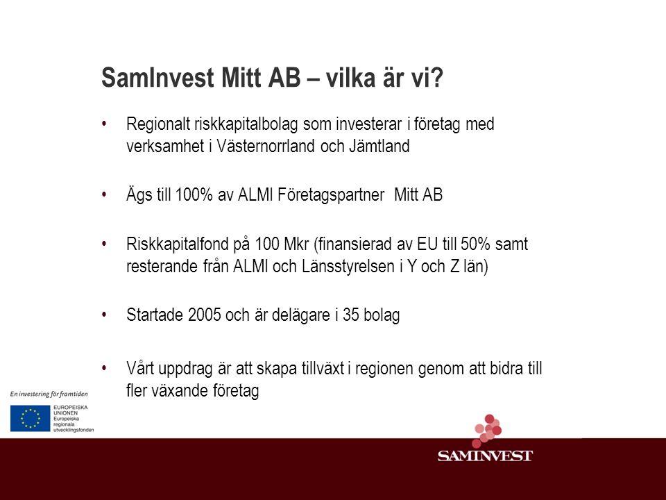 SamInvest – partnerskapsfond Samarbetsavtal SamInvest Riskkapitalbolag Affärsängel Företag Företaget AB 50% *SamInvest och samarbetsparten blir genom investeringen delägare i Företaget AB.