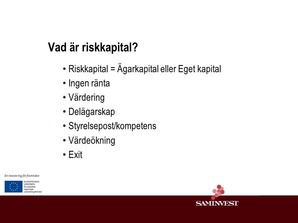 Vem behöver externt riskkapital.