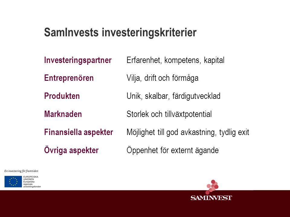 SamInvests investeringskriterier Investeringspartner Erfarenhet, kompetens, kapital Entreprenören Vilja, drift och förmåga Produkten Unik, skalbar, färdigutvecklad Marknaden Storlek och tillväxtpotential Finansiella aspekter Möjlighet till god avkastning, tydlig exit Övriga aspekter Öppenhet för externt ägande