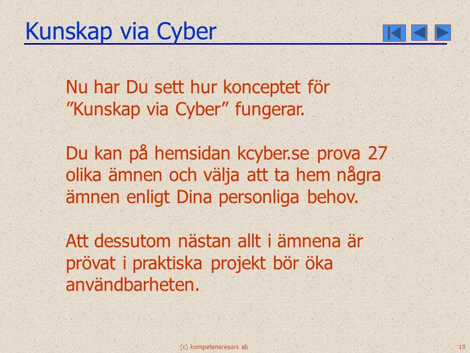 Kunskap via Cyber (c) kompetensresurs ab 10 Nu har Du sett hur konceptet för Kunskap via Cyber fungerar.