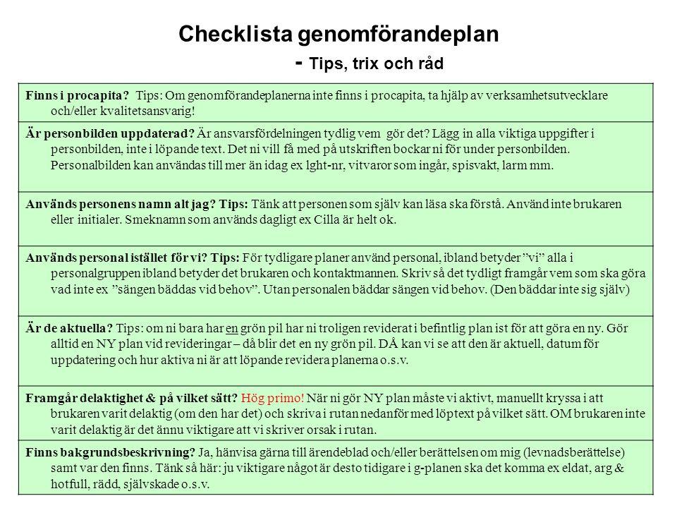 Checklista genomförandeplan - Tips, trix och råd Finns i procapita.