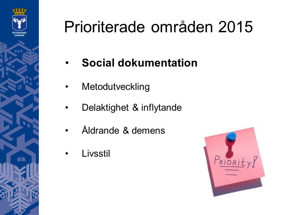 Prioriterade områden 2015 Social dokumentation Metodutveckling Delaktighet & inflytande Åldrande & demens Livsstil