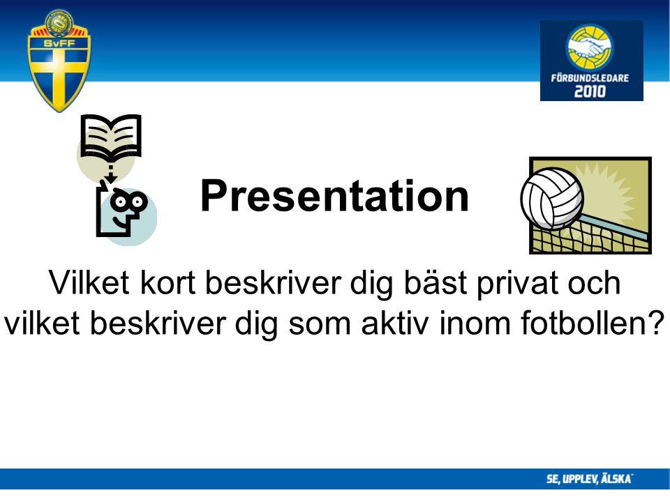 Presentation Vilket kort beskriver dig bäst privat och vilket beskriver dig som aktiv inom fotbollen
