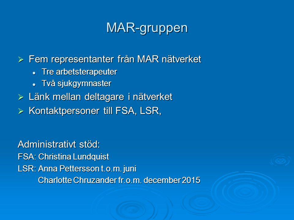 Medlemmar i MAR-grupp  Anette Alfredsson (från 2010-30/9 2015, AT) sammankallande tom 30/9 2015 (från 2010-30/9 2015, AT) sammankallande tom 30/9 2015  Bodil Evertsson (från januari 2015, AT) (från januari 2015, AT)  Maria Lindström (från november 2014, AT) (från november 2014, AT)  Kristina Grubb Karlsson (från 2010, SG) (från 2010, SG)  Linnéa Svanström Leistedt (från 2012, SG) sammankallande från 1/10 2015 (från 2012, SG) sammankallande från 1/10 2015  Mia Svensson Burghard (från december 2015, AT) (från december 2015, AT)