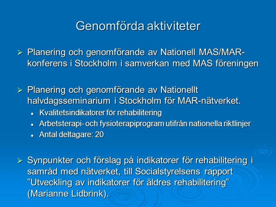 Genomförda aktiviteter  Planering och genomförande av Nationell MAS/MAR- konferens i Stockholm i samverkan med MAS föreningen  Planering och genomförande av Nationellt halvdagsseminarium i Stockholm för MAR-nätverket.