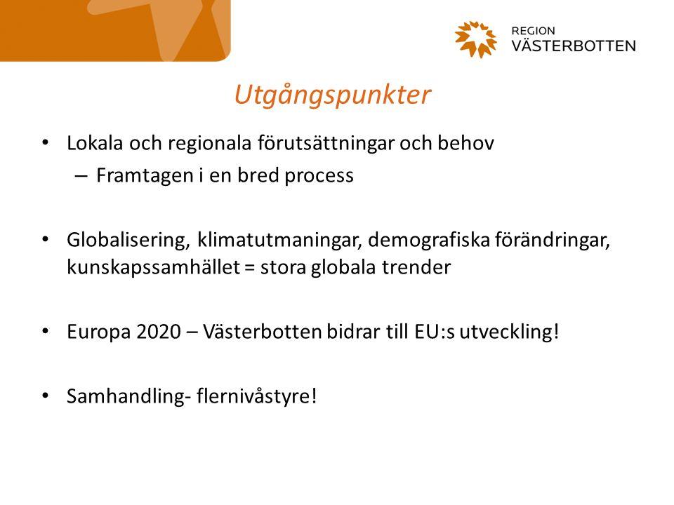 Utgångspunkter Lokala och regionala förutsättningar och behov – Framtagen i en bred process Globalisering, klimatutmaningar, demografiska förändringar, kunskapssamhället = stora globala trender Europa 2020 – Västerbotten bidrar till EU:s utveckling.