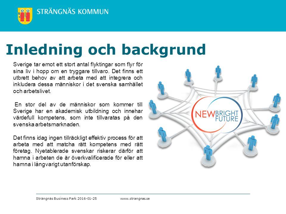 www.strangnas.se Inledning och backgrund Sverige tar emot ett stort antal flyktingar som flyr för sina liv i hopp om en tryggare tillvaro.