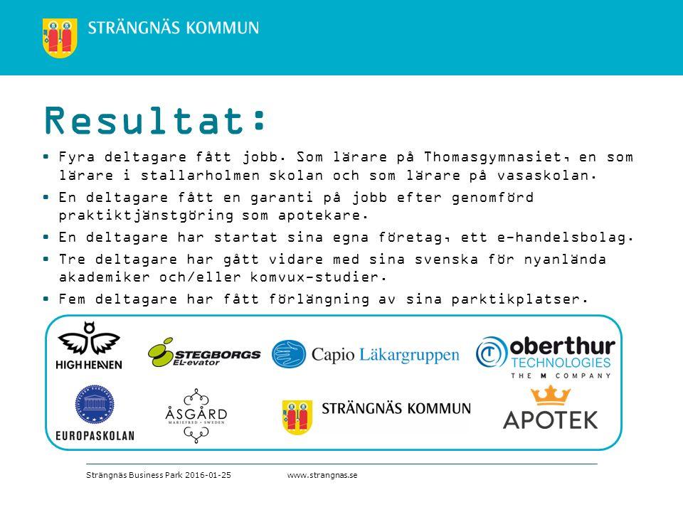 www.strangnas.se Fyra deltagare fått jobb.