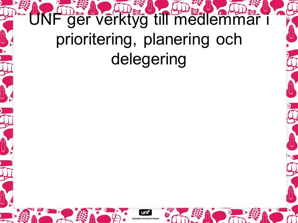 UNF ger verktyg till medlemmar i prioritering, planering och delegering