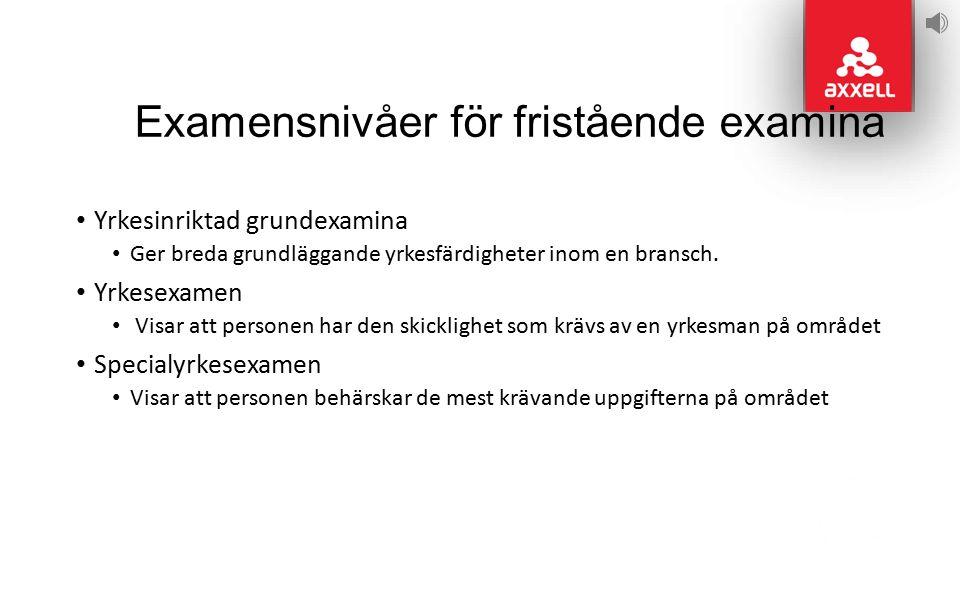Examensnivåer för fristående examina Yrkesinriktad grundexamina Ger breda grundläggande yrkesfärdigheter inom en bransch.