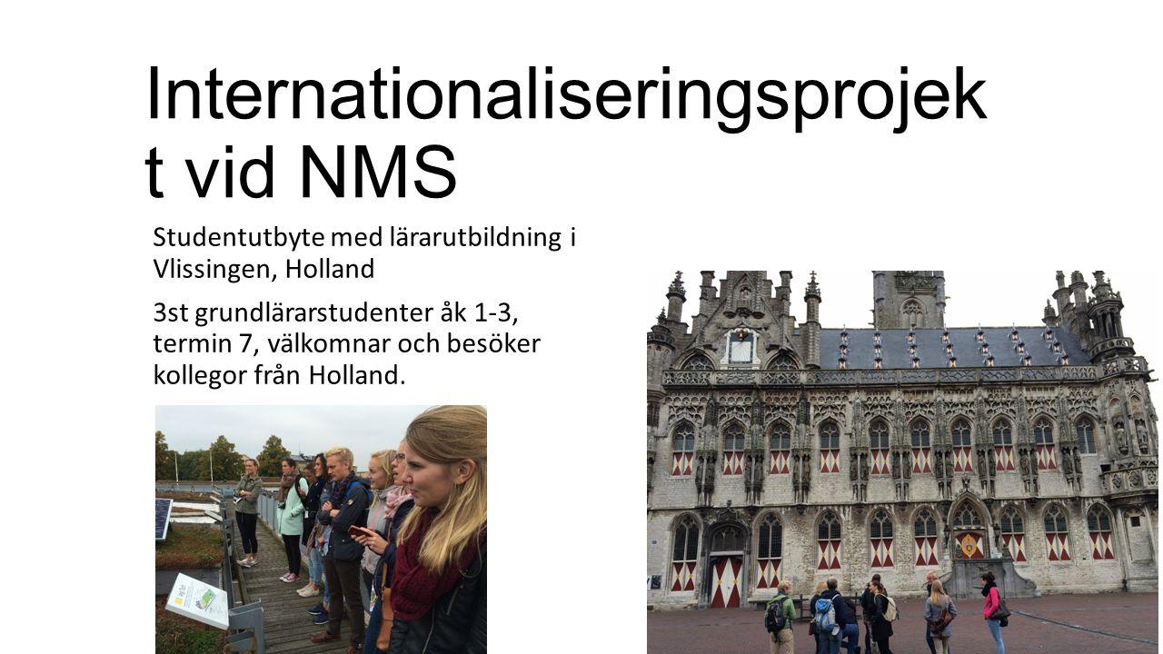 Internationaliseringsprojek t vid NMS Studentutbyte med lärarutbildning i Vlissingen, Holland 3st grundlärarstudenter åk 1-3, termin 7, välkomnar och besöker kollegor från Holland.