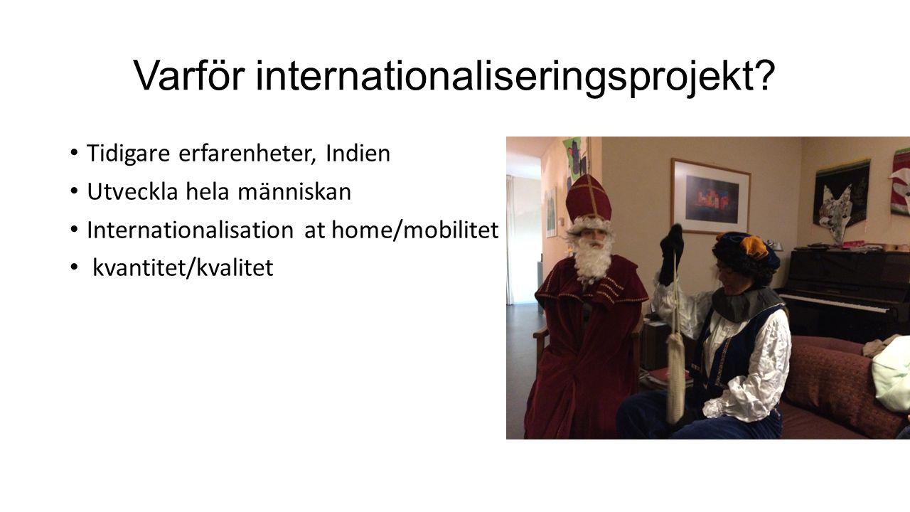 Varför internationaliseringsprojekt? Tidigare erfarenheter, Indien Utveckla hela människan Internationalisation at home/mobilitet kvantitet/kvalitet