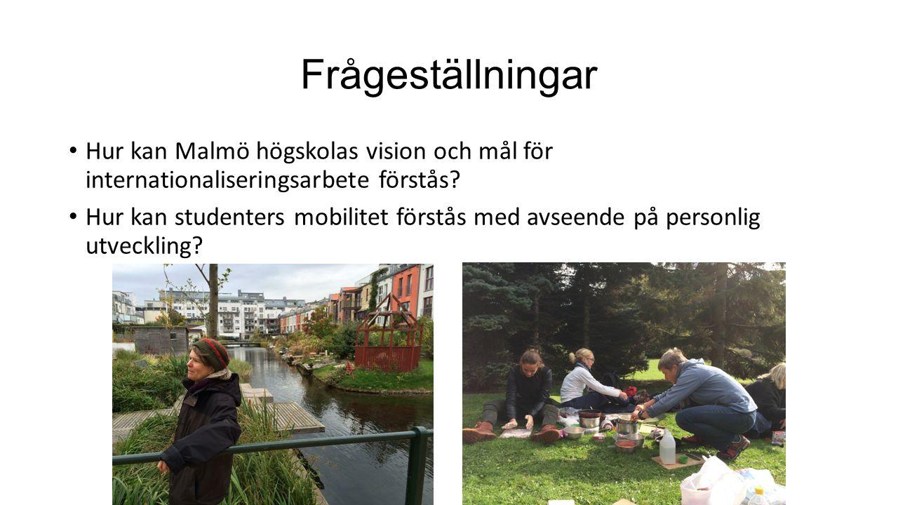 Frågeställningar Hur kan Malmö högskolas vision och mål för internationaliseringsarbete förstås.