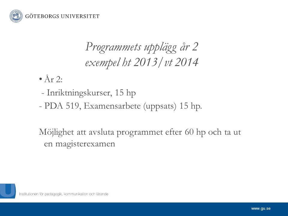 www.gu.se Programmets upplägg år 2 exempel ht 2013/vt 2014 År 2: - Inriktningskurser, 15 hp - PDA 519, Examensarbete (uppsats) 15 hp.