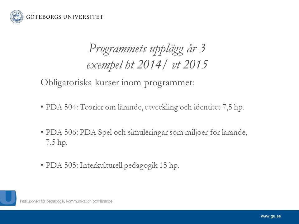 www.gu.se Programmets upplägg år 3 exempel ht 2014/ vt 2015 Obligatoriska kurser inom programmet: PDA 504: Teorier om lärande, utveckling och identitet 7,5 hp.