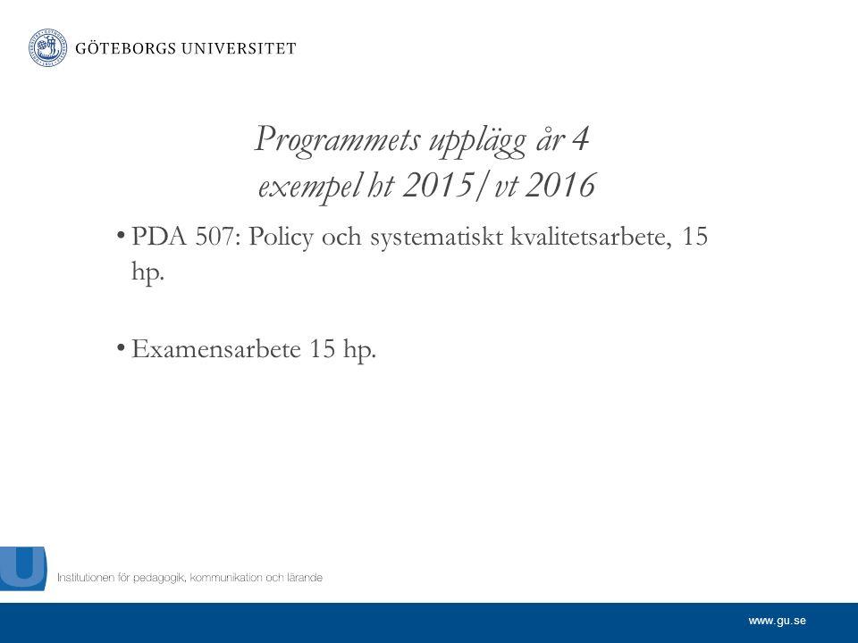 www.gu.se Programmets upplägg år 4 exempel ht 2015/vt 2016 PDA 507: Policy och systematiskt kvalitetsarbete, 15 hp.