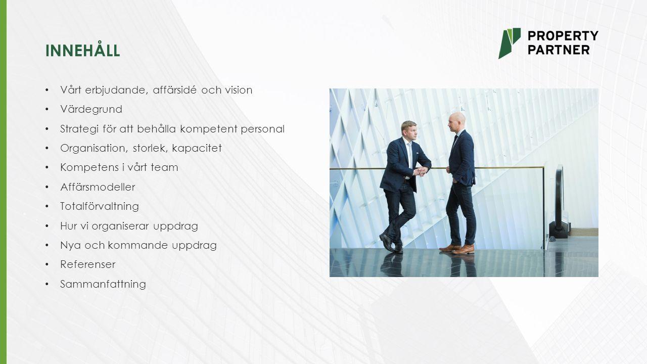 INNEHÅLL Vårt erbjudande, affärsidé och vision Värdegrund Strategi för att behålla kompetent personal Organisation, storlek, kapacitet Kompetens i vårt team Affärsmodeller Totalförvaltning Hur vi organiserar uppdrag Nya och kommande uppdrag Referenser Sammanfattning