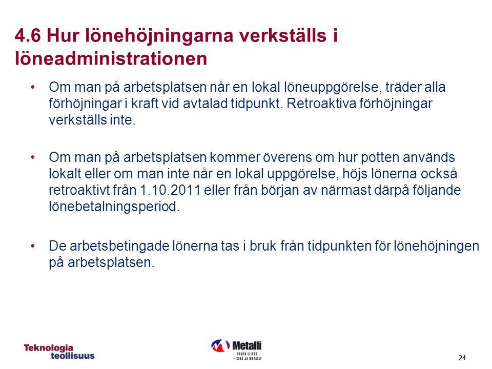 24 4.6 Hur lönehöjningarna verkställs i löneadministrationen Om man på arbetsplatsen når en lokal löneuppgörelse, träder alla förhöjningar i kraft vid avtalad tidpunkt.