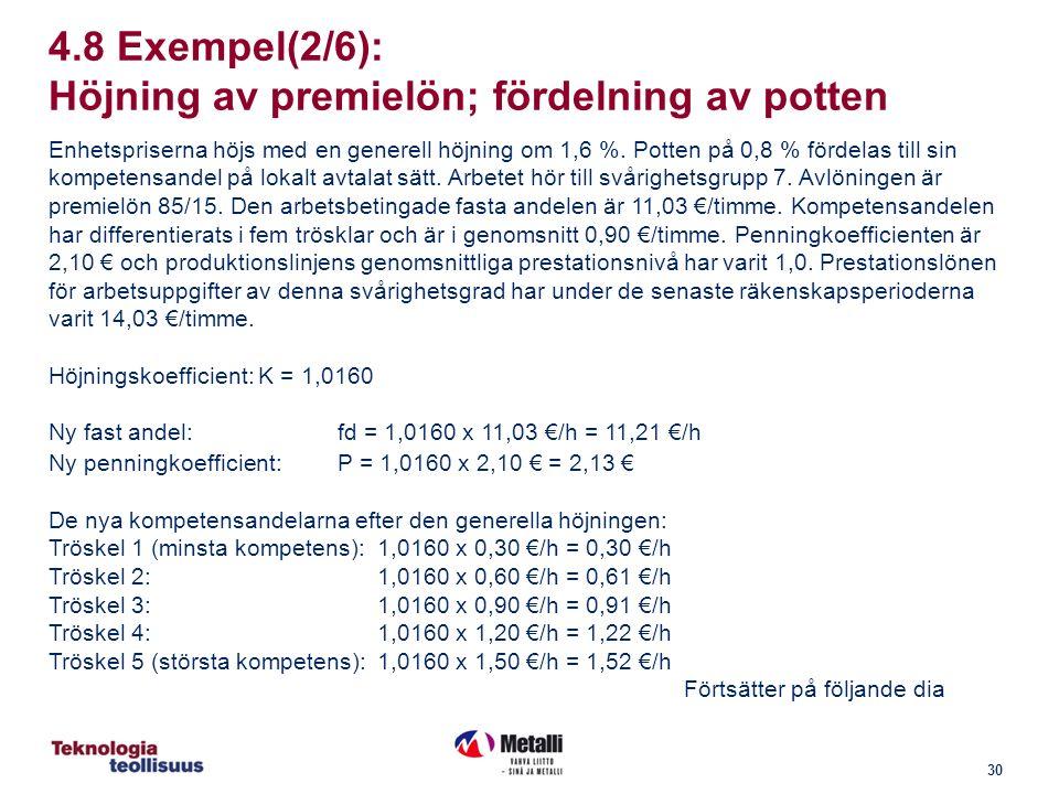 30 4.8 Exempel(2/6): Höjning av premielön; fördelning av potten Enhetspriserna höjs med en generell höjning om 1,6 %.
