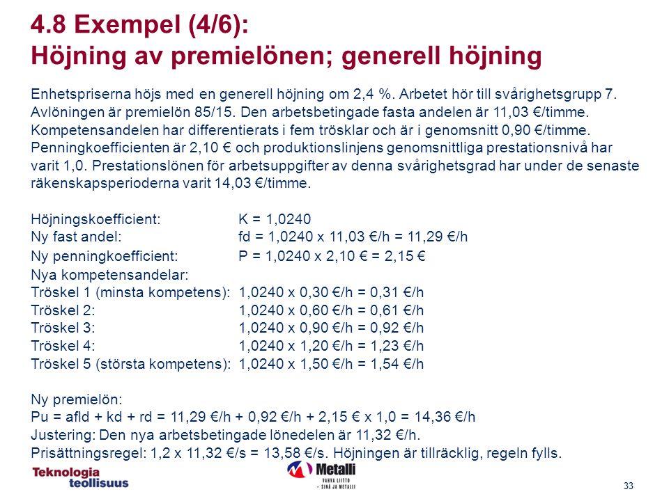 33 4.8 Exempel (4/6): Höjning av premielönen; generell höjning Enhetspriserna höjs med en generell höjning om 2,4 %.
