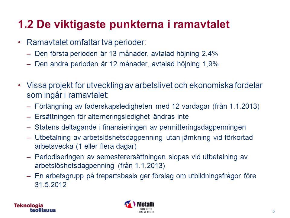 5 Ramavtalet omfattar två perioder: –Den första perioden är 13 månader, avtalad höjning 2,4% –Den andra perioden är 12 månader, avtalad höjning 1,9% Vissa projekt för utveckling av arbetslivet och ekonomiska fördelar som ingår i ramavtalet: –Förlängning av faderskapsledigheten med 12 vardagar (från 1.1.2013) –Ersättningen för alterneringsledighet ändras inte –Statens deltagande i finansieringen av permitteringsdagpenningen –Utbetalning av arbetslöshetsdagpenning utan jämkning vid förkortad arbetsvecka (1 eller flera dagar) –Periodiseringen av semesterersättningen slopas vid utbetalning av arbetslöshetsdagpenning (från 1.1.2013) –En arbetsgrupp på trepartsbasis ger förslag om utbildningsfrågor före 31.5.2012 1.2 De viktigaste punkterna i ramavtalet