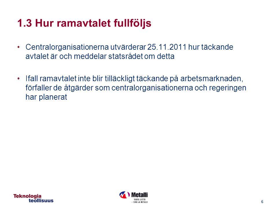 6 Centralorganisationerna utvärderar 25.11.2011 hur täckande avtalet är och meddelar statsrådet om detta Ifall ramavtalet inte blir tilläckligt täckande på arbetsmarknaden, förfaller de åtgärder som centralorganisationerna och regeringen har planerat 1.3 Hur ramavtalet fullföljs
