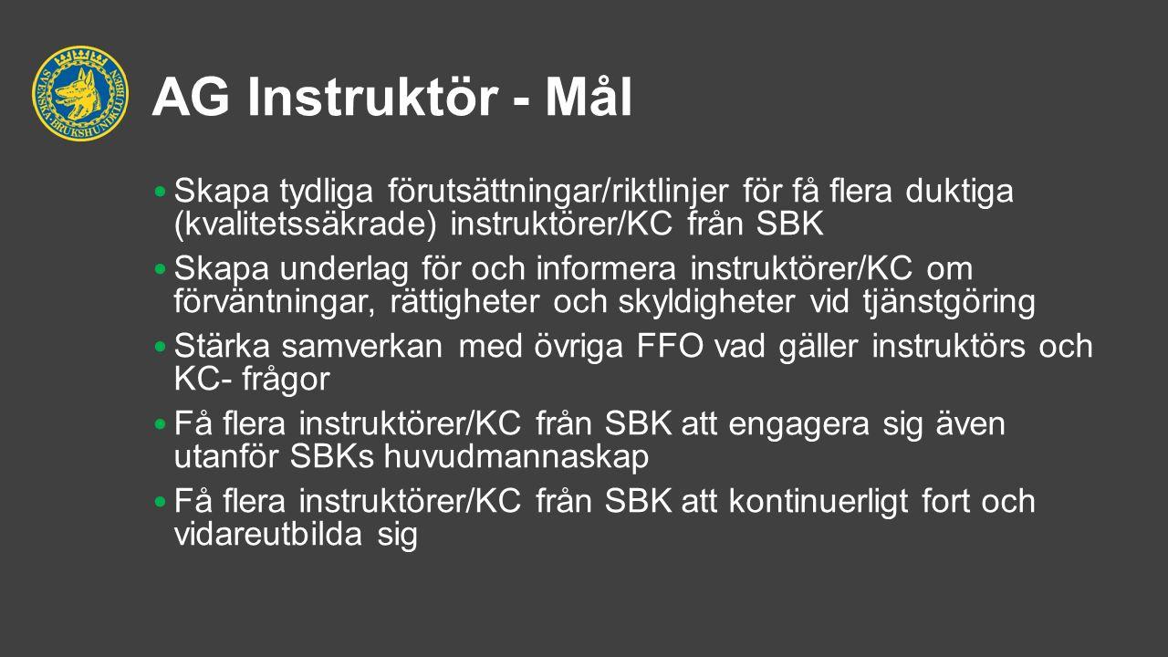 AG Instruktör - Mål Skapa tydliga förutsättningar/riktlinjer för få flera duktiga (kvalitetssäkrade) instruktörer/KC från SBK Skapa underlag för och informera instruktörer/KC om förväntningar, rättigheter och skyldigheter vid tjänstgöring Stärka samverkan med övriga FFO vad gäller instruktörs och KC- frågor Få flera instruktörer/KC från SBK att engagera sig även utanför SBKs huvudmannaskap Få flera instruktörer/KC från SBK att kontinuerligt fort och vidareutbilda sig