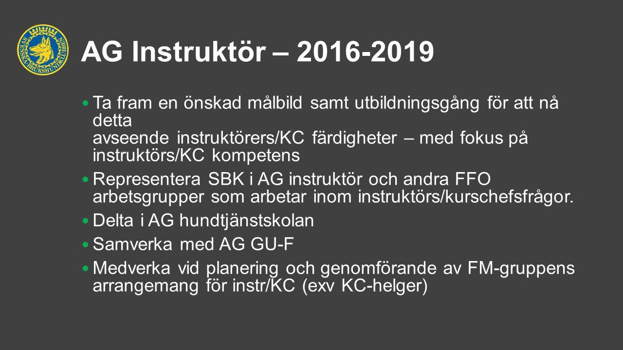 AG Instruktör – 2016-2019 Ta fram en önskad målbild samt utbildningsgång för att nå detta avseende instruktörers/KC färdigheter – med fokus på instruktörs/KC kompetens Representera SBK i AG instruktör och andra FFO arbetsgrupper som arbetar inom instruktörs/kurschefsfrågor.