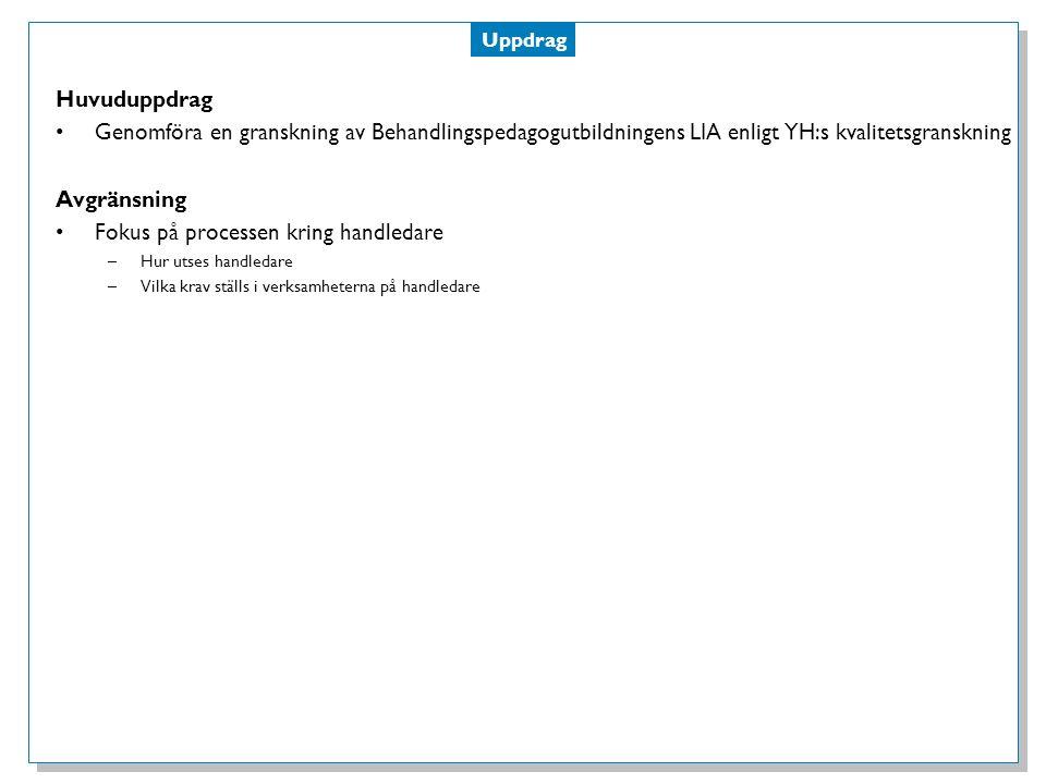 Process Analys av nuläge Analys av bakgrundsmaterial –Författningssamling från YH –Kvalitetskriterier och indikatorer för LIA.