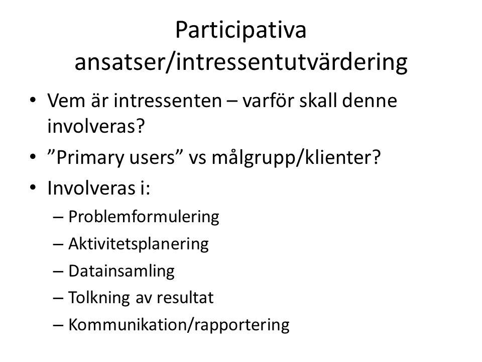 Participativa ansatser/intressentutvärdering Vem är intressenten – varför skall denne involveras.