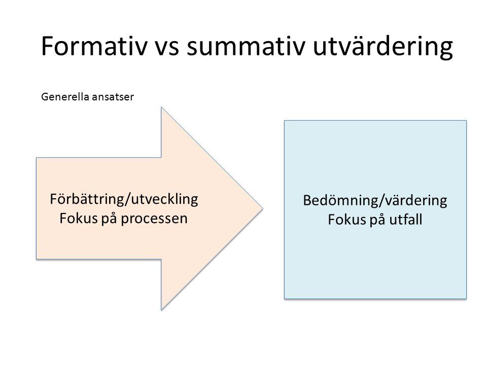 Formativ vs summativ utvärdering Bedömning/värdering Fokus på utfall Bedömning/värdering Fokus på utfall Förbättring/utveckling Fokus på processen Förbättring/utveckling Fokus på processen Generella ansatser