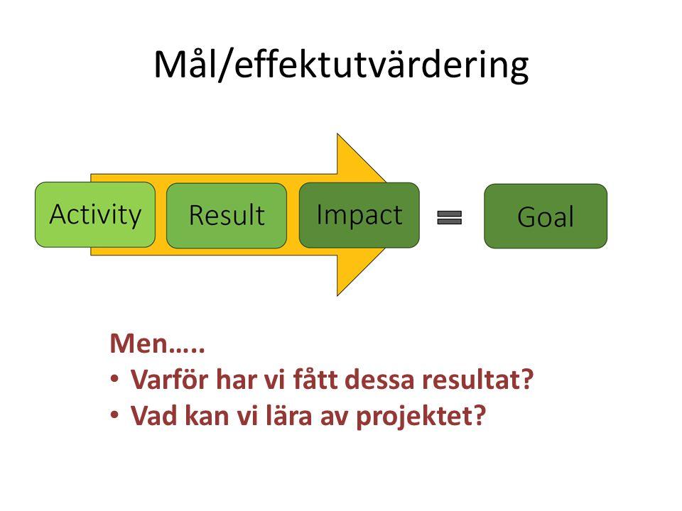 Mål/effektutvärdering Men….. Varför har vi fått dessa resultat? Vad kan vi lära av projektet?