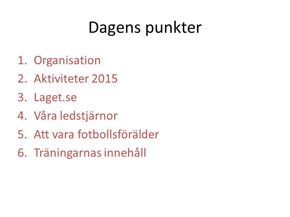 Dagens punkter 1.Organisation 2.Aktiviteter 2015 3.Laget.se 4.Våra ledstjärnor 5.Att vara fotbollsförälder 6.Träningarnas innehåll