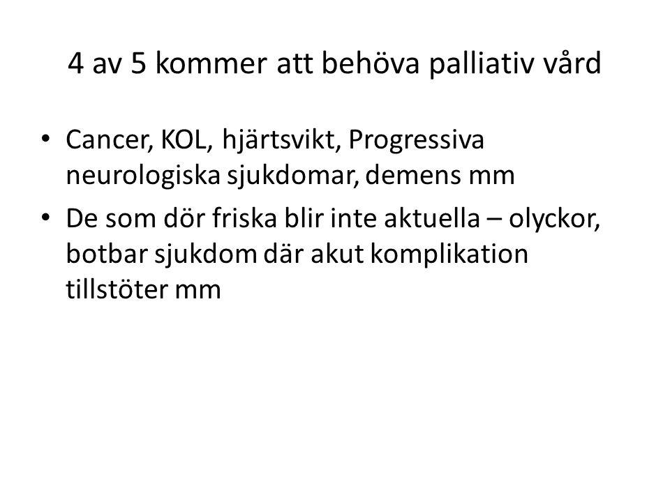 4 av 5 kommer att behöva palliativ vård Cancer, KOL, hjärtsvikt, Progressiva neurologiska sjukdomar, demens mm De som dör friska blir inte aktuella – olyckor, botbar sjukdom där akut komplikation tillstöter mm