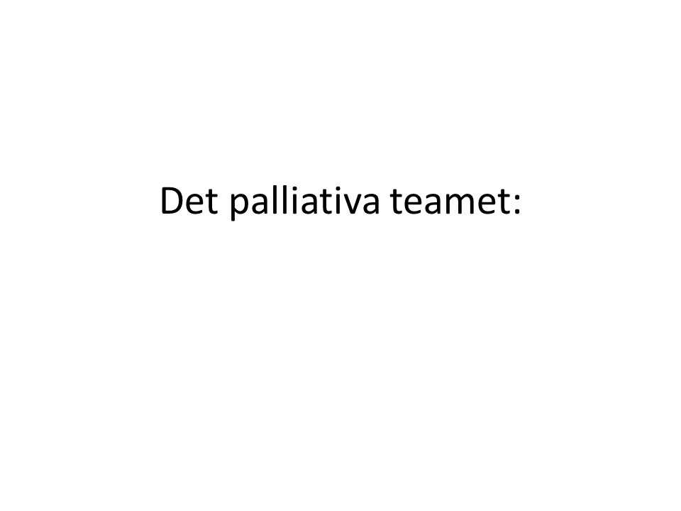 Det palliativa teamet: