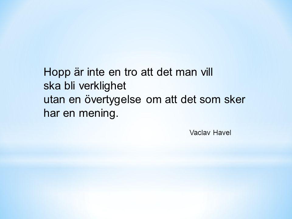 Hopp är inte en tro att det man vill ska bli verklighet utan en övertygelse om att det som sker har en mening.